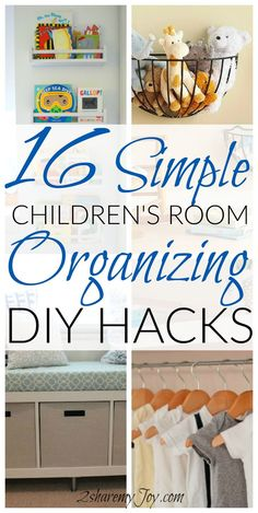 Organizing DIY Hacks: 16 simple hacks and ideas to organize and clean up the nursery or children's room to save space and save clean up time. Easy storage ideas to try right now