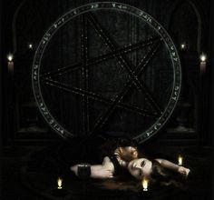 Black Samhain - witch, abstract, dark, magic, manipulation, Samhain, Halloween, pagan, pentagram, wallpaper, fantasy, enchanted, darkness, art, black, digital art, enchantress