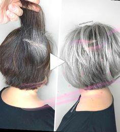 Layered Bob Haircuts, Bob Haircuts For Women, Short Grey Hair, Short Hair Styles, Hair Dye Brush, Jack Martin, Gray Hair Highlights, Transition To Gray Hair, Hair Colorist