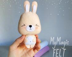 White Bunny felt ornament Easter decor ornaments by MyMagicFelt
