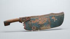 """""""SWINGLE"""" KNIFE, Swedish, folk art, 19th century --  SKÄKTKNIV, Allmoge, 1800-tal. Skuren dekor, bemålning. Längd 56, höjd 14 cm."""