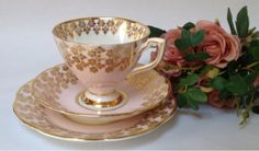 Clare-Pink-Gold-Vintage-Bone-China-British-Tea-Cup-Saucer-Plate-Trio
