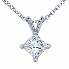 Platinum, Princess Diamond Solitaire Pendant with Chain (2.00 ct) Sea of Diamonds. $18500.00
