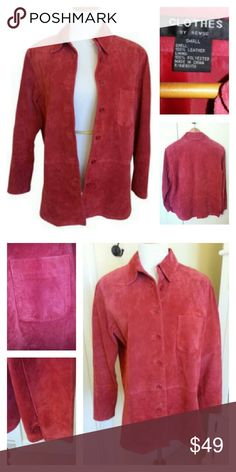 """CLOTHES BY REVUE 80s Red Suede Shirt Jacket The perfect red. Shirt style red suede vintage leather jacket. Weighty - you can feel it when it's on. Front pockets. Button closure. One button at each sleeve/wrist. Slight rounded split at each side of hem about 3-4"""" (like a shirt). Overall length approx 28.5"""". Excellent-to-new condition. Purchased in the 80s, I am the original owner. Button down. Fully lined in satin. Vintage Jackets & Coats"""