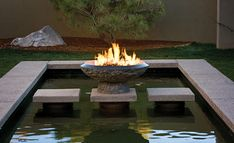 backyard water & fire feature