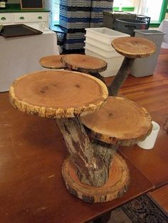 Natural Wood Cupcake Stand tiered - would love the natural stand contrasted with fancy looking cupcakes
