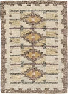 Vintage Rugs: Vintage Rug by Judith Johansson Swedish Flat weave for Scandinavian scandi interior decor, Scandinavian living room