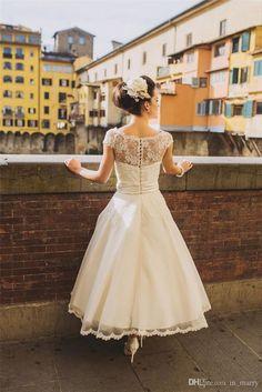 Tea Length Vintage Lace Plus Size Wedding Dresses 2016 A Line Scoop Cap Sleeves