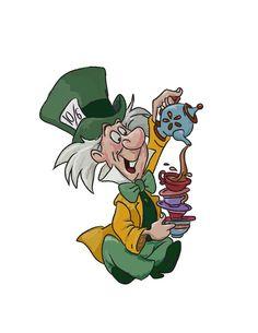 Alice in wonderland Mad Hatter Cartoon, Mad Hatter Drawing, Mad Hatter Tea, Alice And Wonderland Tattoos, Alice In Wonderland Characters, Disney Drawings, Cartoon Drawings, Mad Hatter Images, Alice Rabbit