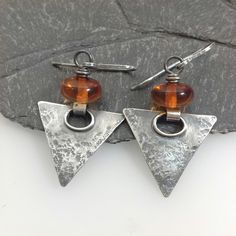 Oxidised silver and amber triangular earrings £48.00