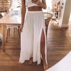 White flowy skirt with split and elasticated waist. Flowy Skirt, Save The Planet, Selling Online, Second Hand Clothes, Platform, Skirts, Stuff To Buy, Shopping, Women