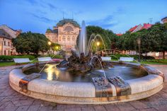 Miroslav Petrasko Another fountain in Kosice Heart Of Europe, Most Beautiful Cities, Bratislava, Vacation Places, Main Street, How To Take Photos, Small Towns, Old Town, Fountain