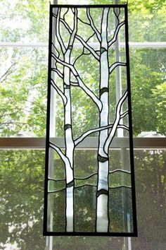 birch+tree+stained+glass+patterns Stained Glass Flowers, Faux Stained Glass, Stained Glass Designs, Stained Glass Projects, Stained Glass Patterns, Leaded Glass, Stained Glass Windows, Mosaic Glass, Window Glass