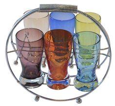 Mid-Century Glasses & Chrome Holder - Set of 7 on Chairish.com