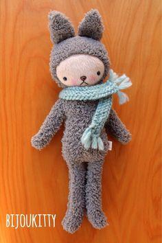 Bunny in knit scarf. bijoukitty.