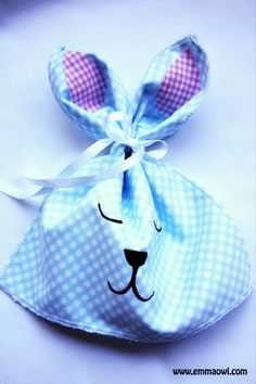 Ribbon Tie Easter Bunny Bags   AllFreeSewing.com