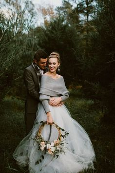 This cozy winter wedding shoot features a muted, icy color palette, super soft textures, and an absolutely dreamy floral bridal wreath The post Fashionably Cozy Winter Wedding Inspiration appeared first on Woman Casual - Wedding Gown Tulle Wedding, Wedding Gowns, Dream Wedding, Wedding Shoot, Wedding Ideas, Winter Wedding Dresses, 2017 Wedding, Winter Weddings, Colored Wedding Dress