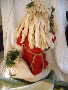 "18"" primitive besnickle christmas santa claus decoration hand crafted cloth $45"
