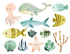 watercolor ocean clipart sea clipart ocean animals by rosabebe Fish Clipart, Art Clipart, Watercolor Flower, Watercolor Ocean, Wallpaper Kawaii, Animal Wallpaper, Nautical Clipart, Illustrator, Canvas Paintings