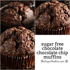 For a delicious breakfast, dessert, or treat try this Recipe for Tasty Sugar Free Chocolate Chocolate Chip Muffins that you will love. Sugar Free Carrot Cake, Sugar Free Muffins, Sugar Free Chocolate Cake, Sugar Free Banana Bread, Sugar Free Deserts, Sugar Free Brownies, Sugar Free Peanut Butter, Sugar Free Baking, Sugar Free Recipes