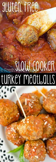 Slow Cooker Turkey Meatballs (Gluten Free): Easy, flavorful turkey meatballs made with ground flaxseed in place of breadcrumbs. Only 30 minutes of prep time-- let the slow cooker do the rest!
