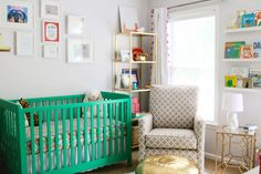 Green, Gold and Pink Nursery - love this eclectic, yet on-trend nursery!
