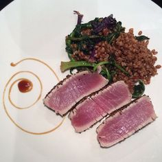 """Thanks John Sconzo for this gorgeous, mouthwatering dinner idea! """"Seared wild black sesame crusted tuna with harissa'd kale & wheatberries and a plate sprayed with Aftelier Chefs Essence ginger & lemongrass sprays."""""""
