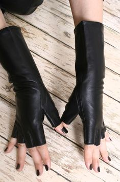 Genuine Sheepskin Leather Fashion Runway Gothic Punk Rock Lady fingerless Gloves || via Etsy