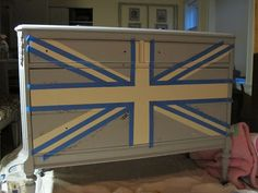Tutorial.  Painting Union Jack on a dresser or other furniture.
