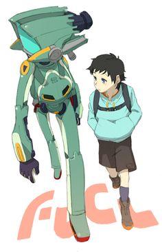 Furi Kuri - Canti and Naota Mega Anime, All Anime, Me Me Me Anime, Anime Manga, Anime Stuff, Game Character Design, Character Ideas, Character Art, Furi Kuri