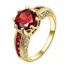 Rings Luxurious Ruby Jewelry Wedding Engagement Accessories Gold Plated Women Rings For Party New (JewelOra *** AliExpress Affiliate's Pin. Details on product can be viewed by clicking the image Black Hills Gold Jewelry, Red Jewelry, Rose Gold Jewelry, Jewelry Rings, Jewelry Party, Wedding Jewelry, Crystal Jewelry, Fine Jewelry, Women Jewelry