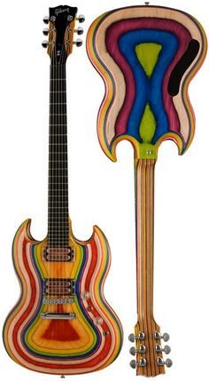 Gibson SG Zoot Suit. Each color is a different layer of wood.  Just a bunch of slices squished together.