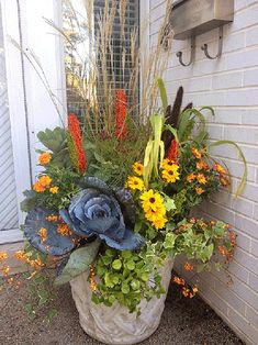 Great fall flower pot mixing grasses, perennials, and fall flowers. Great fall flower pot mixing grasses, perennials, and fall flowers. Container Flowers, Fall Pots, Indoor Flowers, Flower Garden, Autumn Garden, Plants, Fall Container Gardens, Fall Flowers, Fall Flower Pots