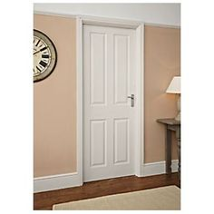 Jeld-Wen Oakfield 4-Panel Moulded Interior Door Unfinished 762 x 1981mm Supplied unfinished with a base coat primer for your own choice of paint or stain.