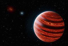 Illustration de la jeune 51 Eridani b observée dans l'infrarouge. L'exoplanète géante et gazeuse, formée il y a moins de 20 millions d'années, est deux fois plus massive que Jupiter. © Danielle Futselaar & Franck Marchis, Seti Institute