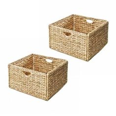 Seville Classics 13 in. x 8 in. Woven Hyacinth Storage Basket (2-Pack)-WEB168 - The Home Depot