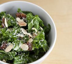 Kale Salad with Almonds, Parmesan and Dates