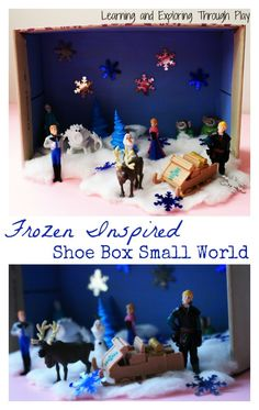 A fabulous Frozen Inspired Small World set up, created using a shoe box! Board Games For Kids, Craft Activities For Kids, Play Frozen, Fun Crafts, Crafts For Kids, Disney Themed Cakes, Kids Outdoor Play, Small World Play, Frozen Theme