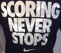 Mens-Nike-T-Shirt-Medium-Dri-Fit-Scoring-Never-Stops-Graphic-Black