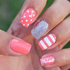 Pink, Sliver, White with Stripe and Polkadot Nail Art Design