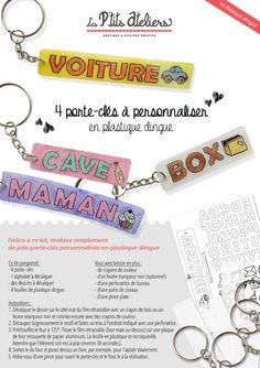 Kit porte-clés à personnaliser en plastique dingue : Kits, tutoriels Activités Enfants par les-petits-ateliers