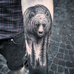 Bears usually call forests as habitat. But that may not be the only reason you need to choose this design. Bears are also symbols for bravery and confidence. On the technical side, the details on this tattoo and how it is done is truly amazing.