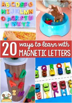 20+ Ways to Use Magnetic Letters. Did you know that magnetic letters are a powerful literacy learning tool? They are a great way to help your kids learn the alphabet and other important emergent literacy skills. The best part about these activities is that you won't break the bank or spend hours toiling away in your classroom to create stellar literacy activities. Want to learn my favorite ways to use them? Try these 20 ideas in your pre-k classroom. #pre-k #alphabet