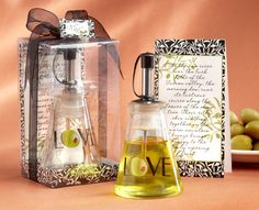 """""""Olive You!"""" Glass LOVE Oil Bottle in Signature Tuscan Box"""