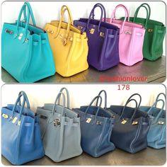 Bags#hermes #birkin #birkins #collections Top:Lagoon,Soleil,Iris,Bubblegum,Vert Bengale. Bottom:Blue France,Ciel,Thallasa,de malt,Blue jeans - @fashionlover178- #webstagram