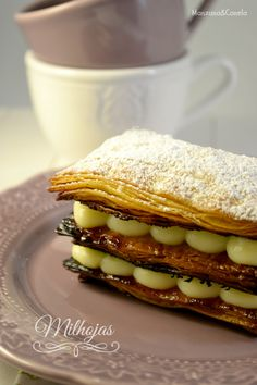 Milhojas de hojaldre casero y crema pastelera - Manzana&Canela