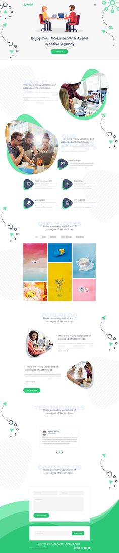 Avabil is clean and modern design #PSD template for creative #agency website with 14 layered PSD files to live preview & download click on image or Visit  #websitedesign