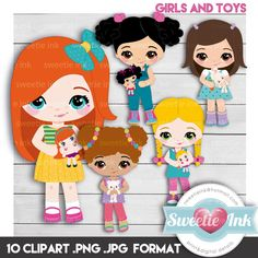 Clipart girls and toys kawaii de SweetieInk en Etsy