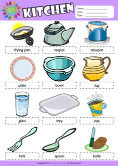 Kitchen Picture Dictionary ESL Vocabulary Worksheet