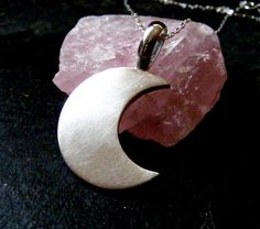 Silver Moon Pendant necklace Crescent moon by dAgDesigns on Etsy,